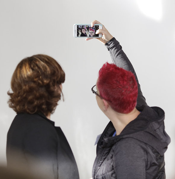 """Science broadcaster Vivienne Parry (left) with guest speaker Sue Black, an advocate for women in computing and pioneer of the """"Saving Bletchley Park"""" campaign"""